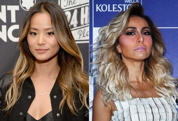 Jamie Chung de ombré hair e Sabrina Sato com mechas superclaras (Foto: Getty Images)